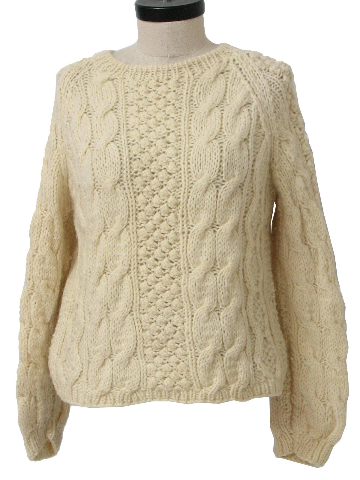 70s -Lerner Shops- Womens off white hand knit wool, longsleeve ...