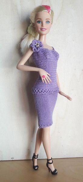Puppenkleidung - Barbie Kleid (gehäkelt), lila - ein Designerstück ...