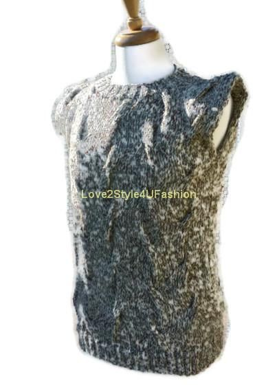 Hand Knit Womens Cable Knit Sleeveless Sweater Vest Blouse