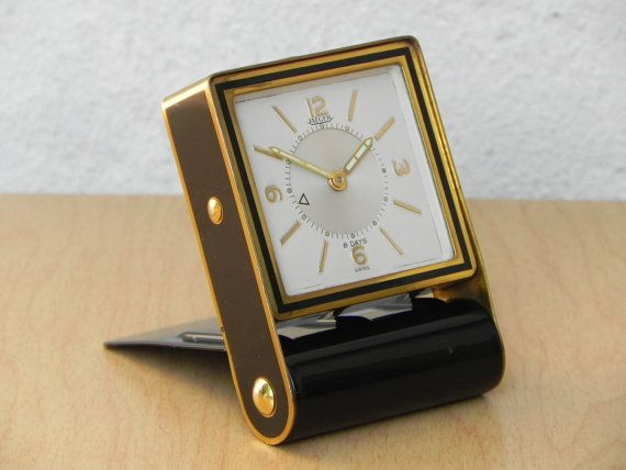Folding Black Brass Alarm Clock