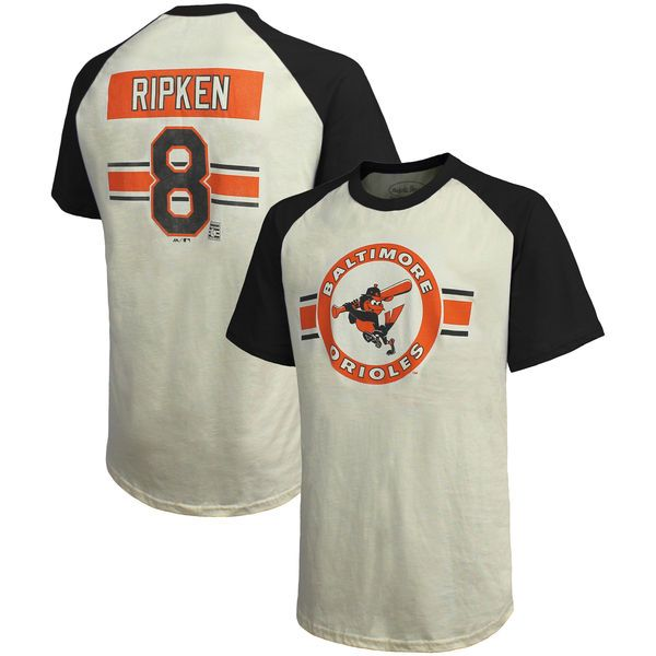 d57a16c8 Cal Ripken Jr. Baltimore Orioles Majestic Threads Cooperstown Collection  Hard Hit Player Name & Number Raglan T-Shirt - Cream/Black - $39.99