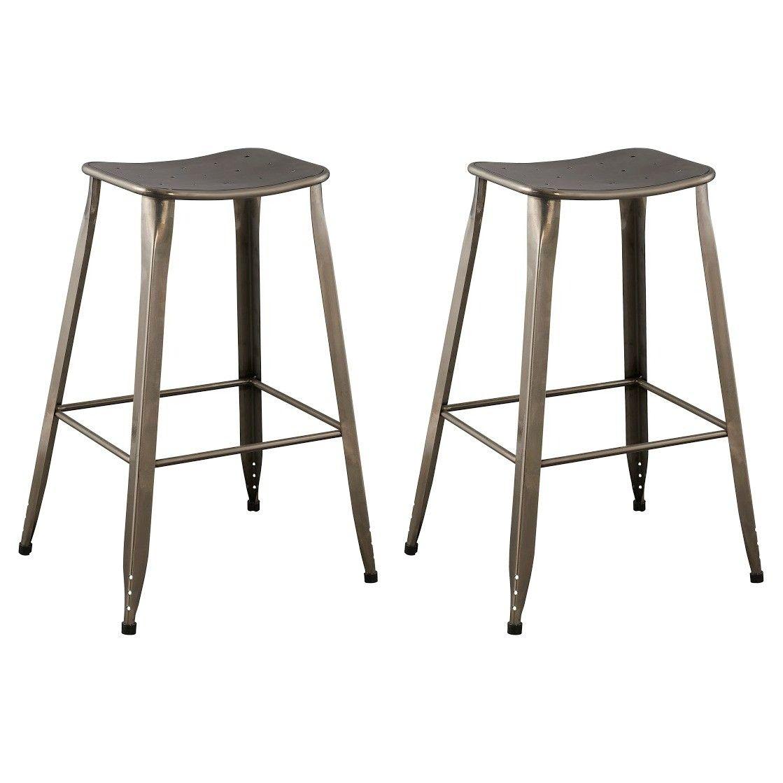 Set Of 2 Saddle Seat 29 Barstool Steel Ace Bayou Backless Bar