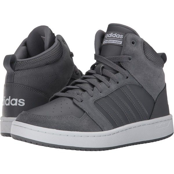 on sale fbc70 d1523 adidas Cloudfoam Super Hoops Mid (Grey FourGrey FourCrystal White)...  (58) ❤ liked on Polyvore featuring mens fashion, mens shoes, mens  sneakers, ...