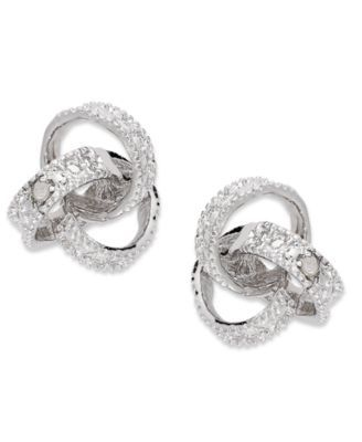 6501d89a7 Victoria Townsend Sterling Silver Earrings, Diamond Accent Love Knot Stud  Earrings | macys.com