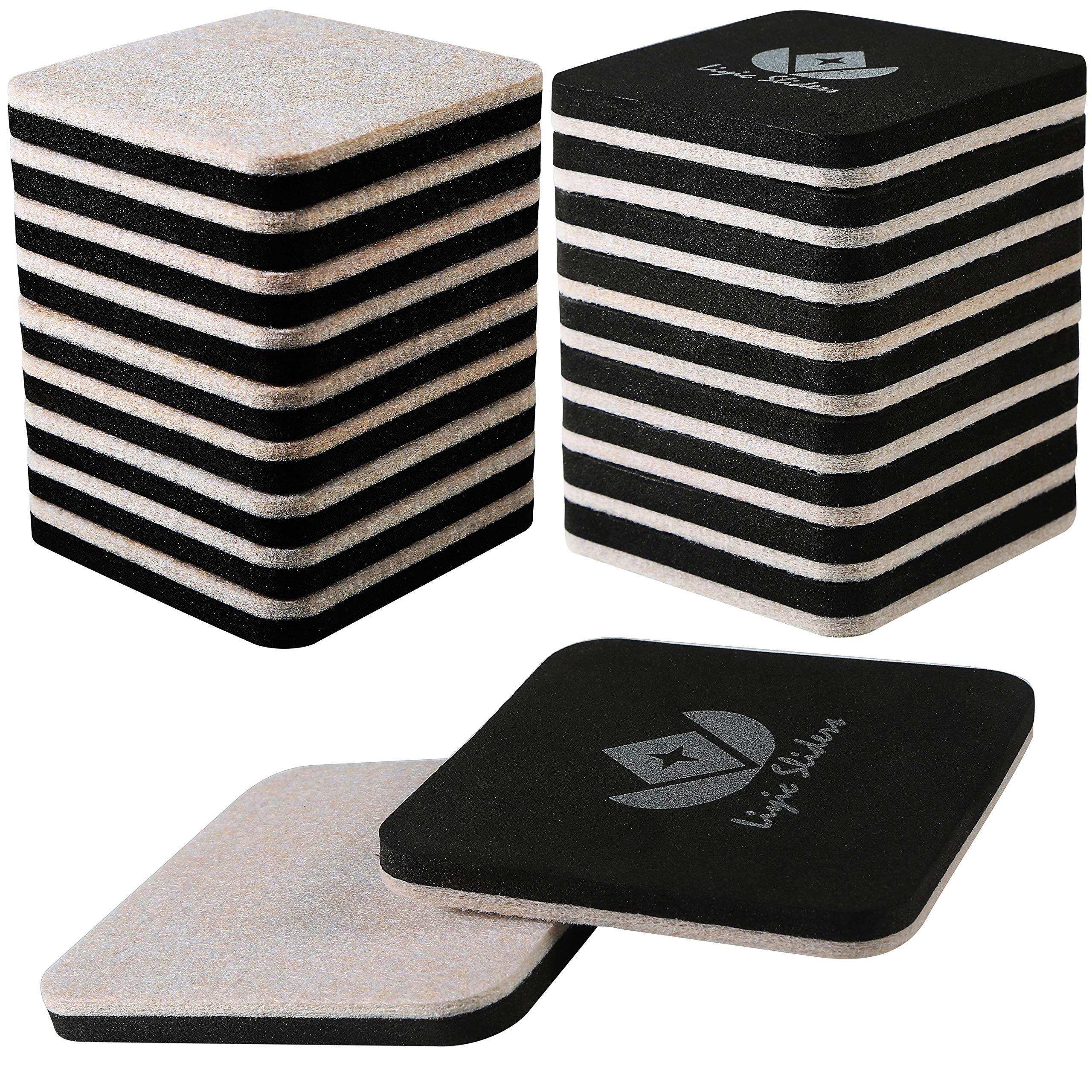 Liyic 20 Pack 3in Square Felt Sliders For Hard Surfaces Felt