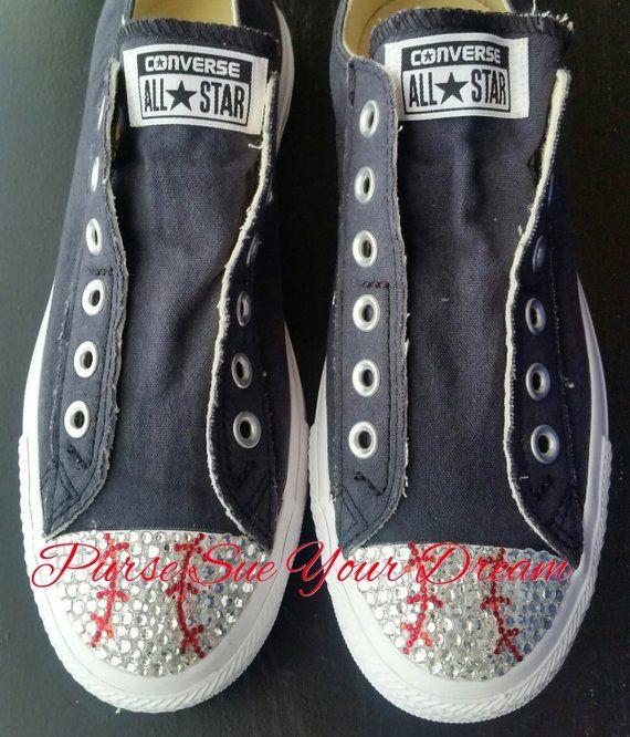 4c668581d28 Custom Swarovski Crystal Rhinestone Baseball Themed Converse Shoes - Baseball  Shoes - Baseball Inspi