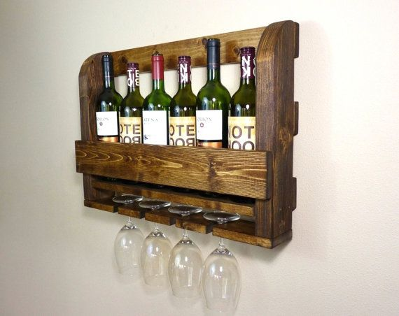 Wood Wine Rack With Wine Glass Holders By Homesteadtraditions