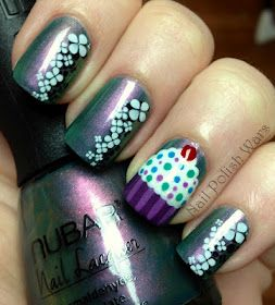 birthday nails  natural gel nails nail polish cupcake