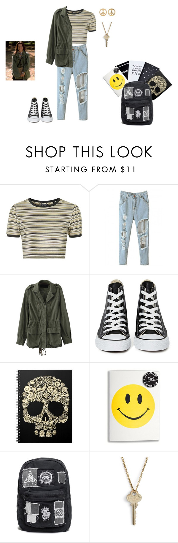 """""""Back to school outfit based on Lindsay Weir-Freaks and Geeks"""" by msgeeky ❤ liked on Polyvore featuring Topshop, Converse, The Giving Keys and Mudd"""