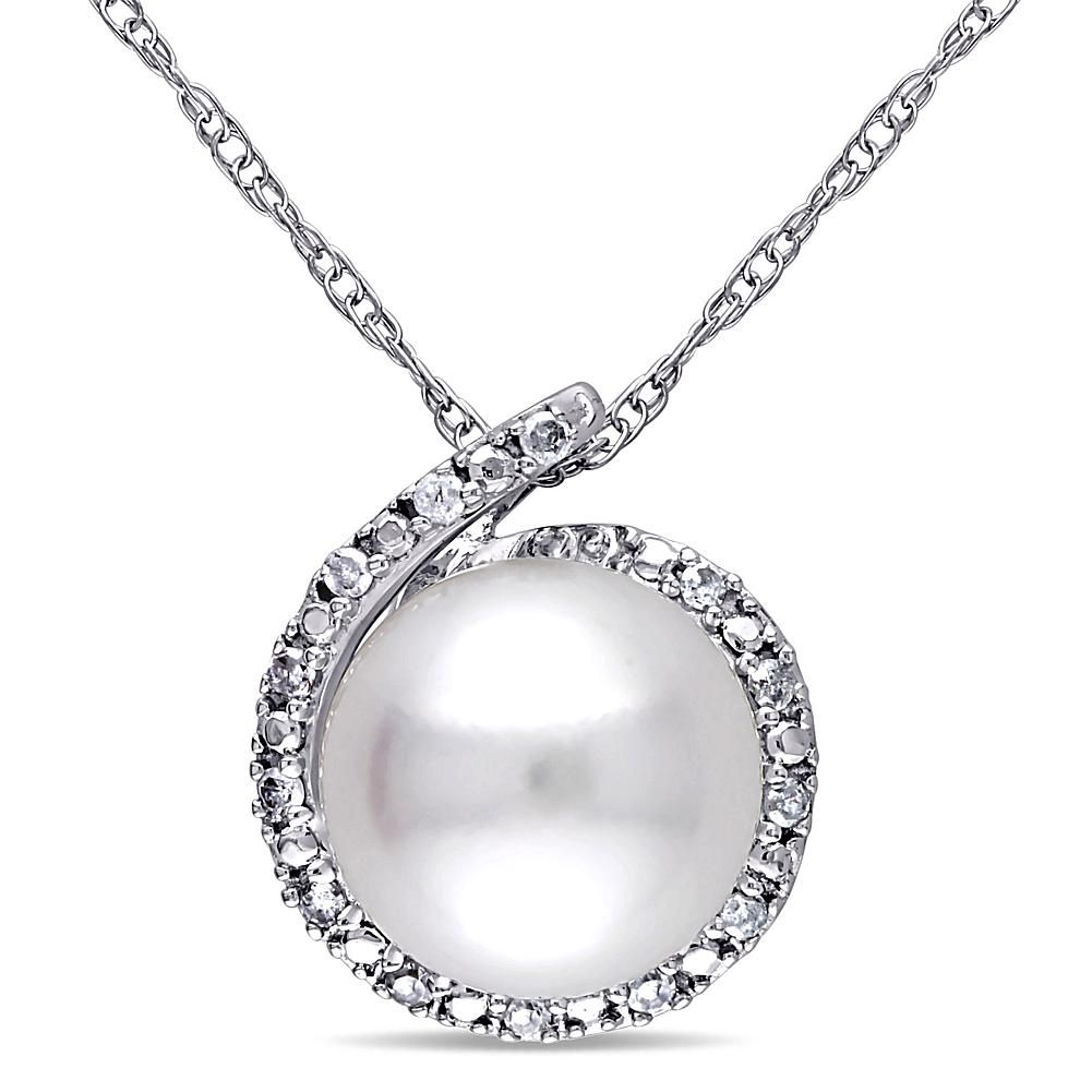 Delmar jewelers k white gold cultured freshwater pearl and diamond