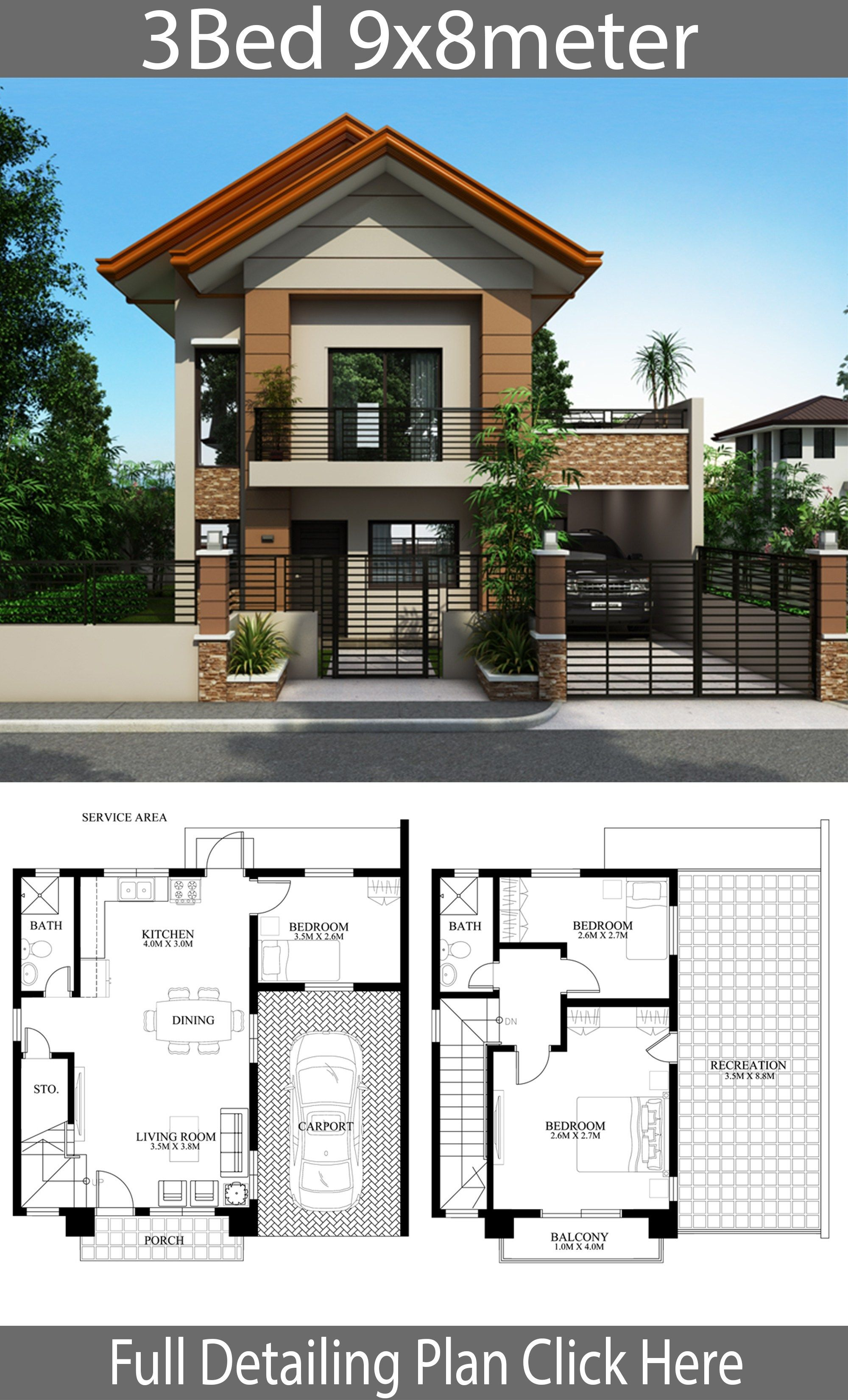 Home Design Plan 9x8m With 3 Bedrooms Home Design With Plan Philippines House Design Small House Design Philippines 2 Storey House Design