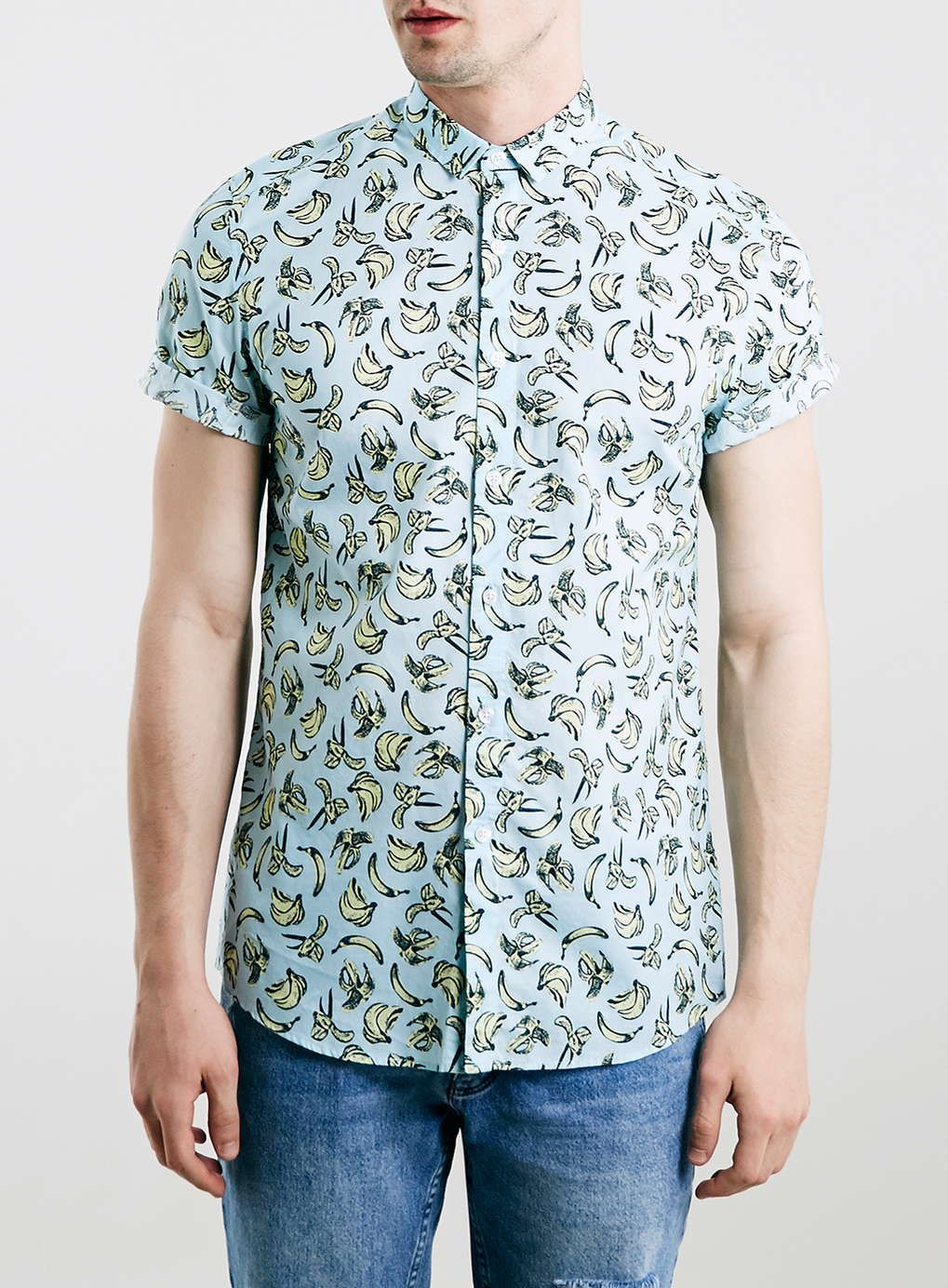 14967c863df89 Light Blue Banana Print Short Sleeve Shirt - Men's Shirts - Clothing ...