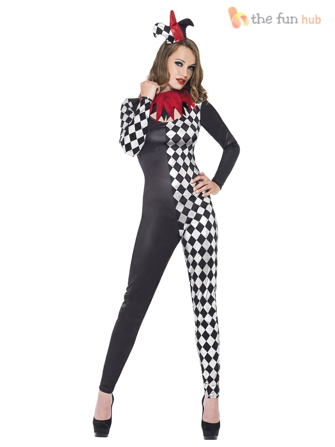 aee890b7f6007 Ladies-Sexy-Zombie-Clown-Harlequin-Jester-Halloween-Costume-Womens-Circus- Outfit