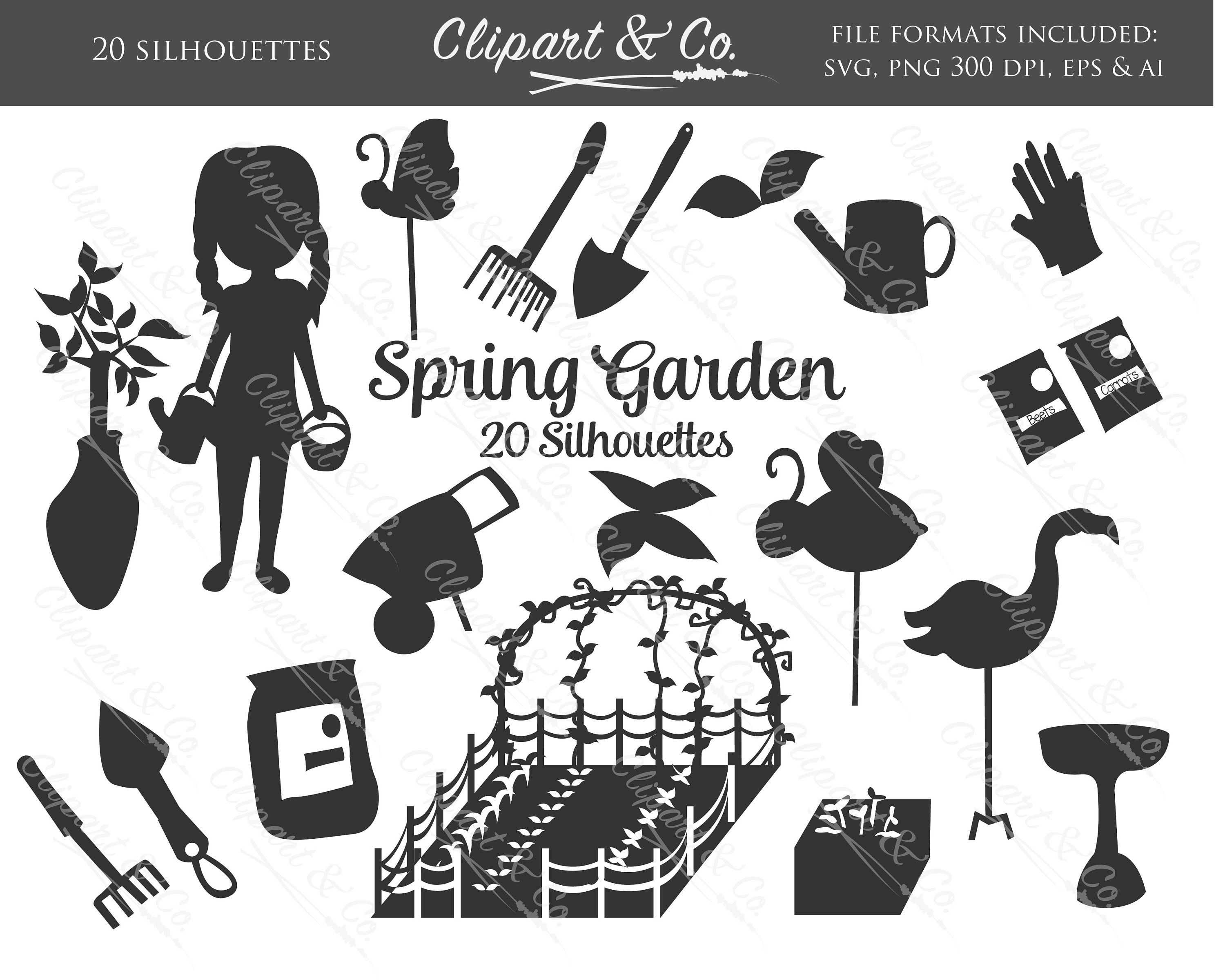 Svg Silhouette Spring Garden Clipart 20 Black And White