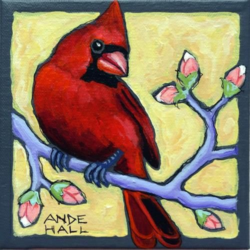 """Daily+Paintworks+-+""""Rebird+with+Buds""""+-+Original+Fine+Art+for+Sale+-+©+Ande+Hall"""