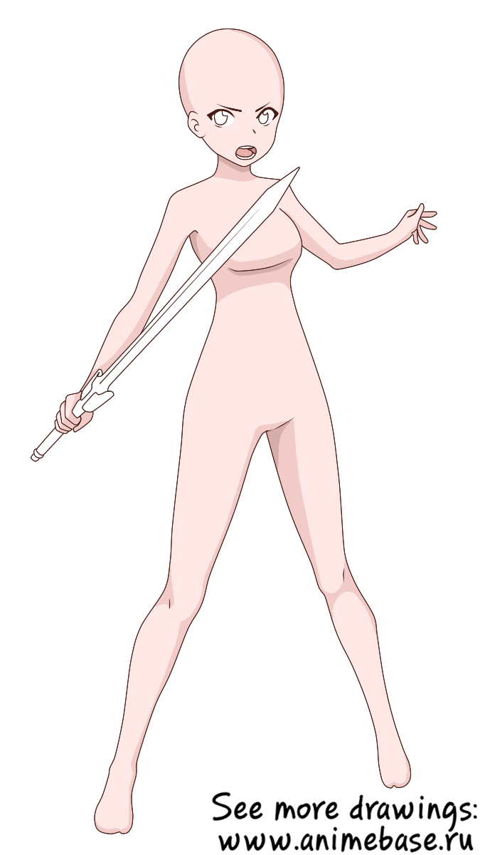 Full Length Girl With A Sword Anime Base In 2020 Anime Poses Reference Drawing Base Manga Poses
