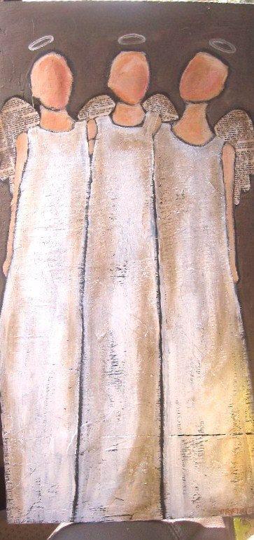 Die Dreifaltigkeit 3 Engel Original Acryl Auf Holz Malen Engel