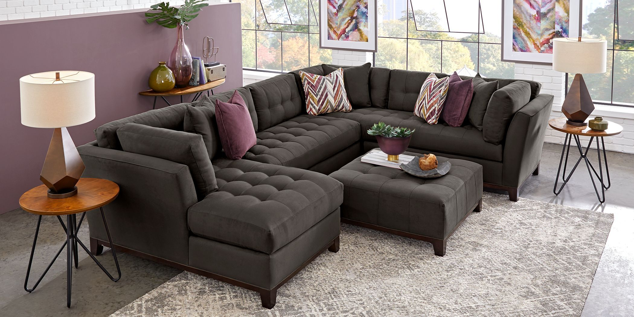Cindy Crawford Home Metropolis Way Slate 3 Pc Sectional Rooms To