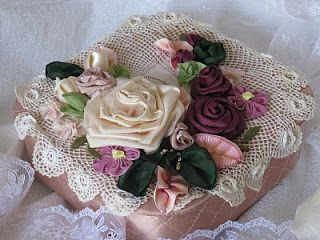 Vintage Romance: vintage satin box with ribbon flowers