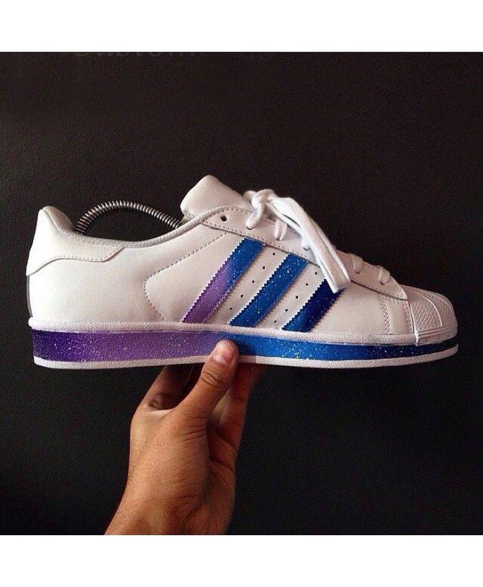 Adidas Superstar Stripes Gradient Navy Purple White Trainer