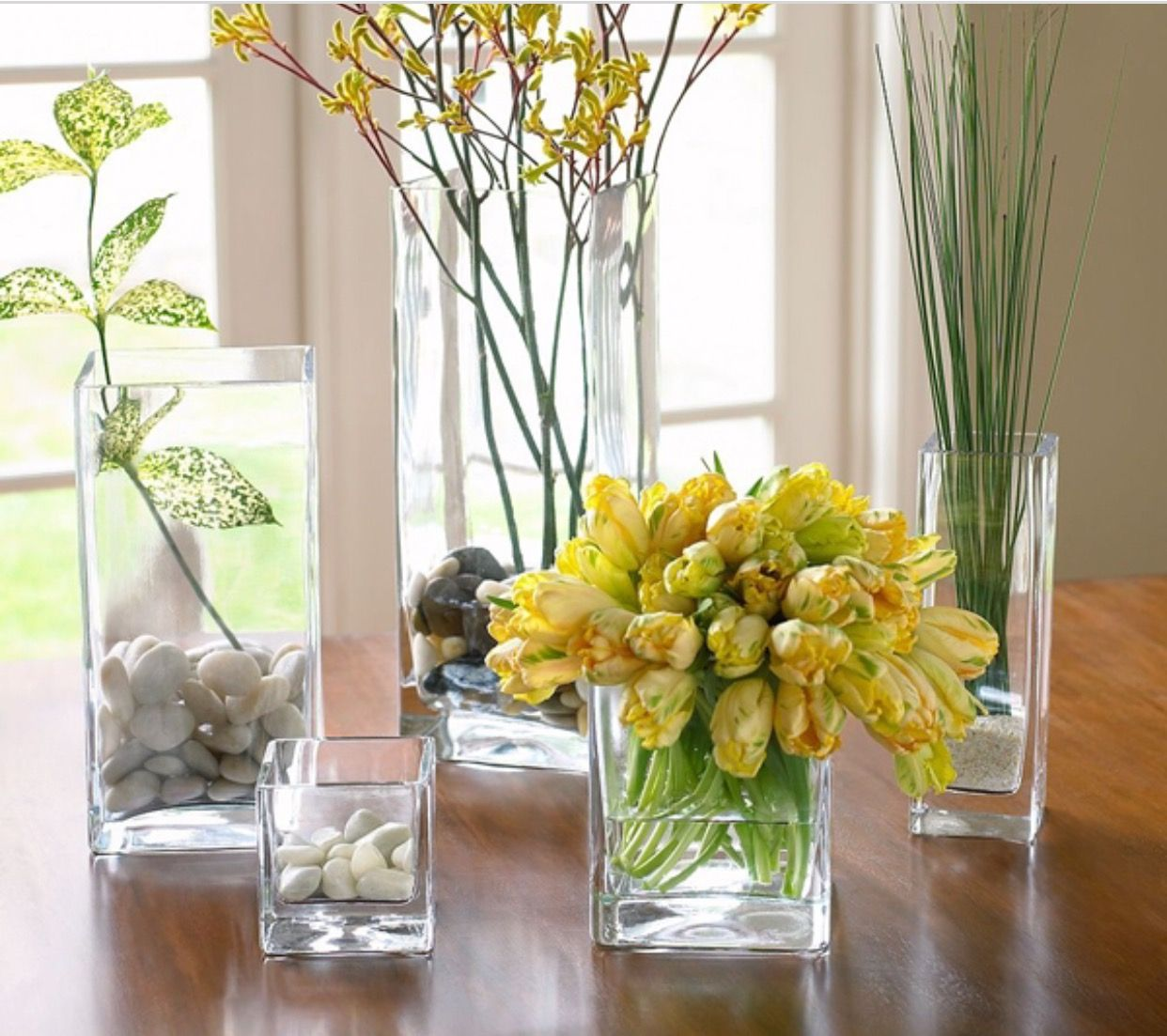 Floreros o centros de mesa jardin florero de vidrio - Decoracion de jarrones de cristal ...