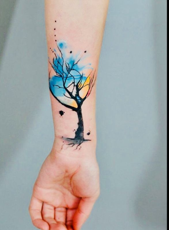 Watercolor Tree Tattoo On Wrist Watercolor Tattoo Tree Tree Tattoo Designs Tattoos