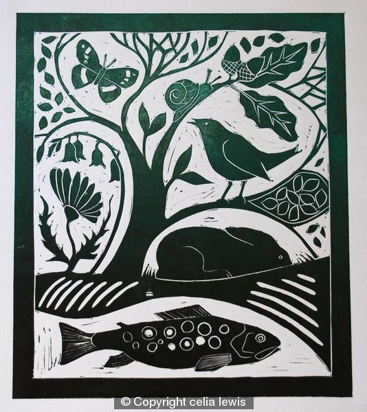 Nature uncovered - Celia Lewis - linocut