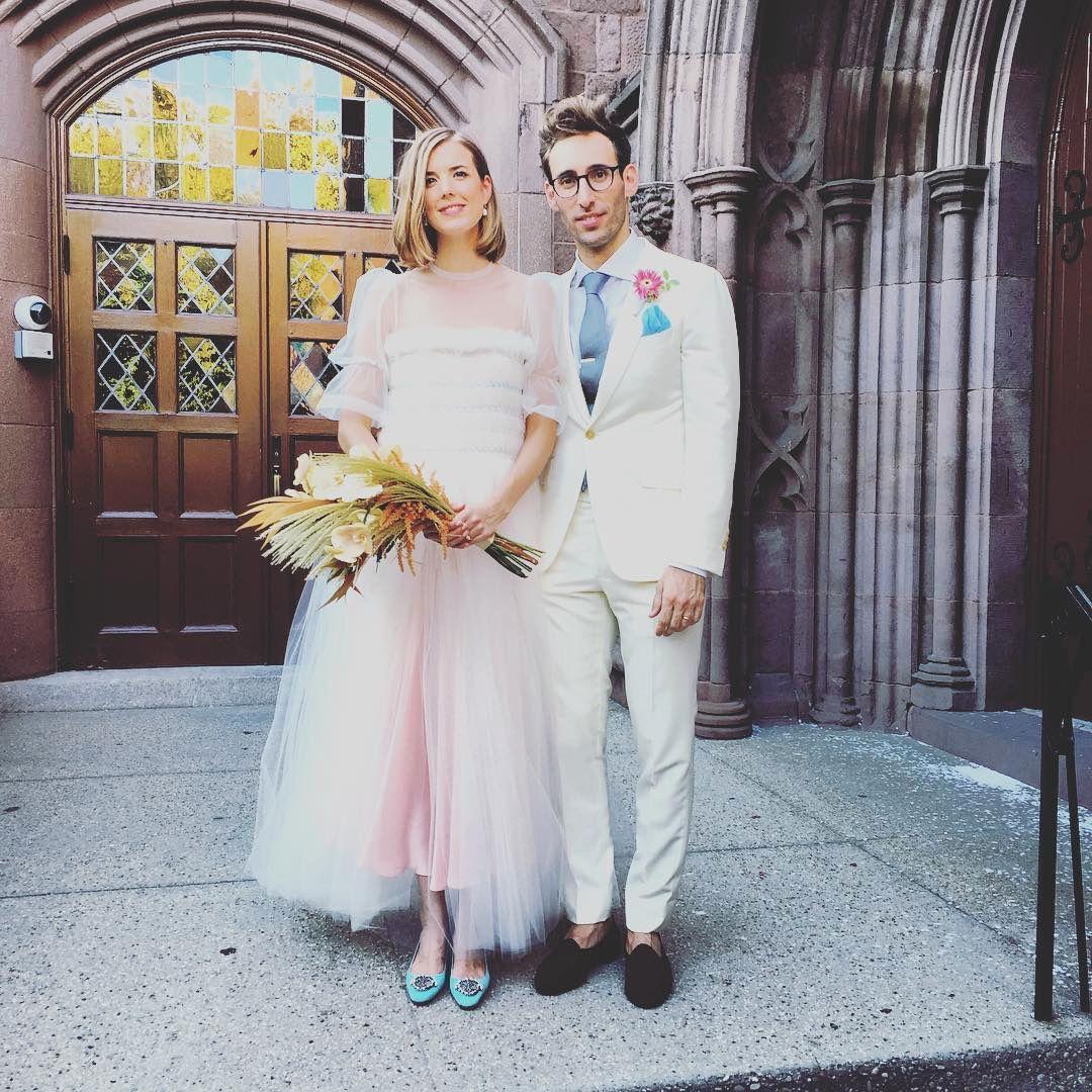 agyness deyn wearing molly goddard at her wedding in brooklyn