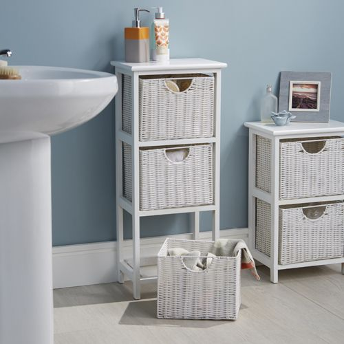 White Wood Wicker Bathroom Drawer Unit 3 Basket Bathroom Furniture Storage Wicker Bathroom Storage White Bathroom Storage