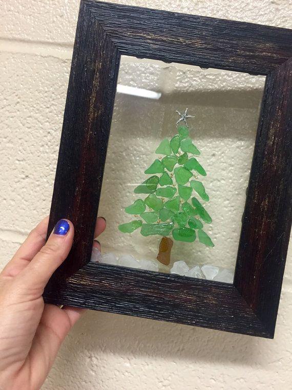 Beach glass framed Christmas tree design decor hanging rustic ...