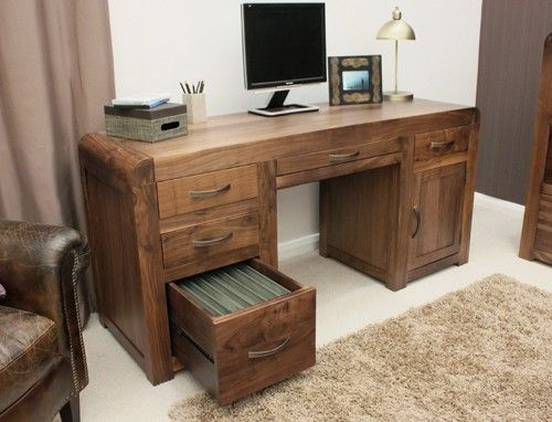 Baumhaus Shiro Walnut Twin Pedestal Computer Desk Cdr06b With