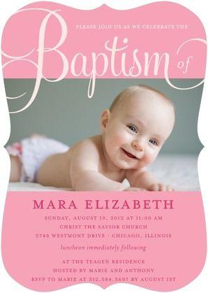 Fashionable Fonts - Baptism, Christening Invitations - Le Papier Boutique - Princess - Pink : Front