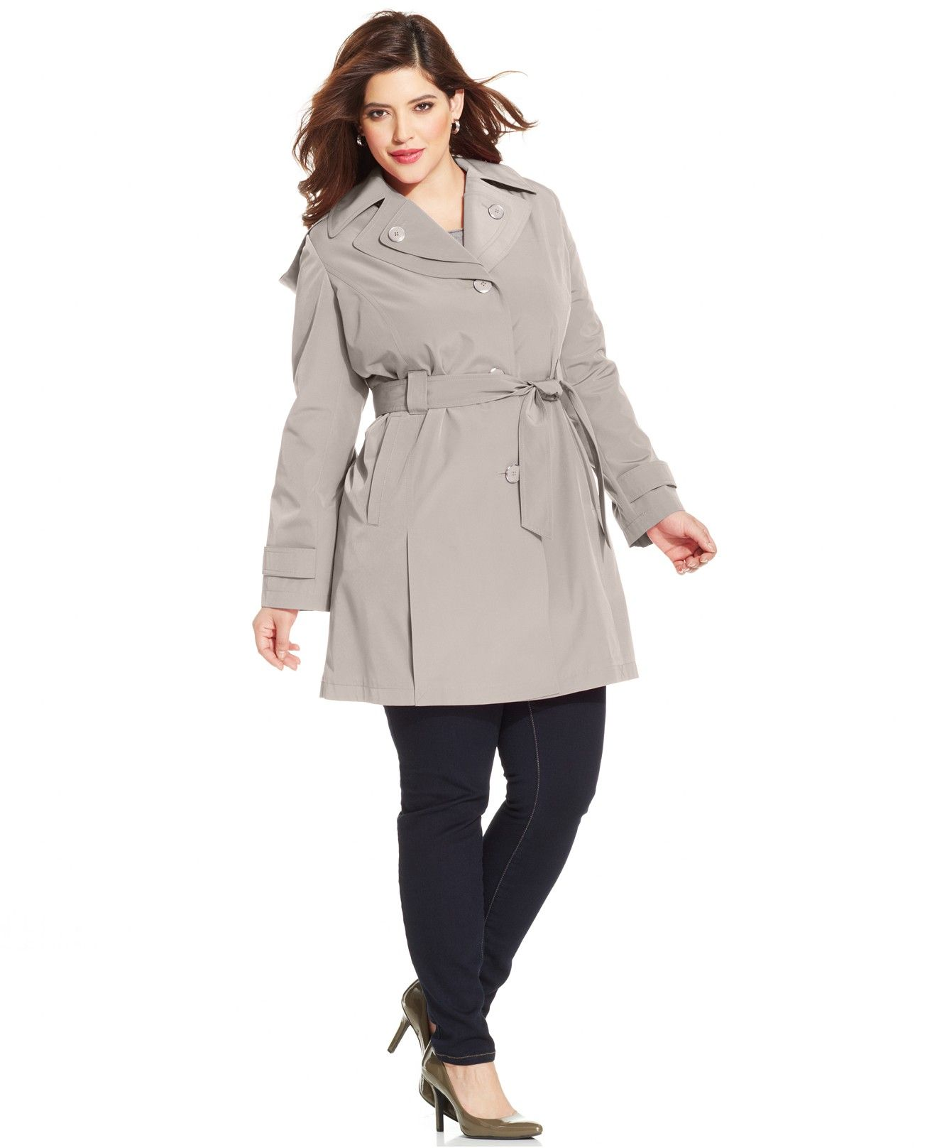 f09021b5ed5 London Fog Plus Size Hooded Layered-Lapel Trench Coat - Coats - Plus Sizes  - Macy s