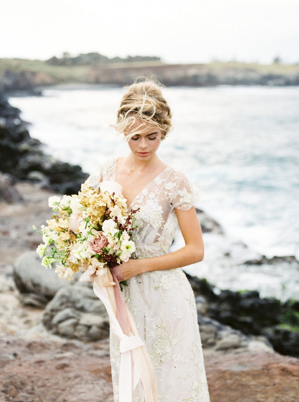 Blush and gold bridal inspiration in maui wedding sparrow juliet