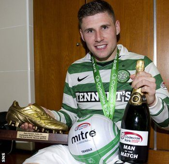 Gary Hooper With His League Winners Medal The Match Ball For His Hat Trick The Man Of The Match Champagne And The Spl Gold Man Of The Match Gary Hooper Man