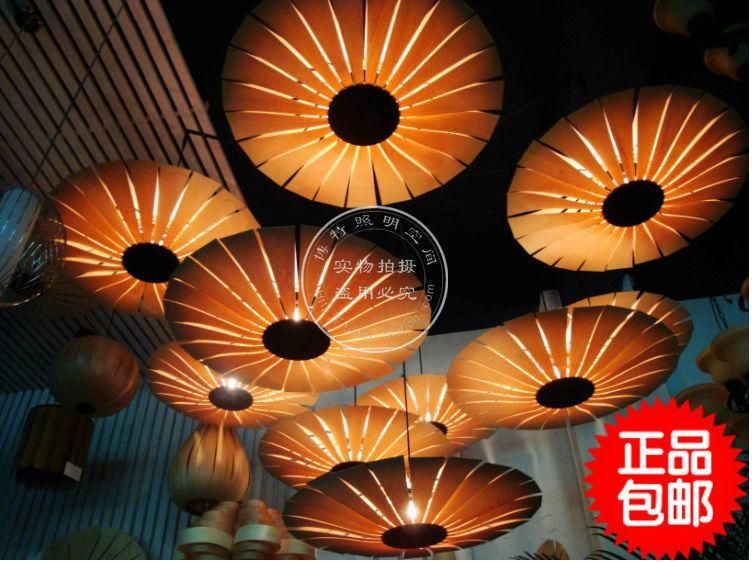Asian Style Lighting wood umbrella veneer chandelier southeast asian chinese style