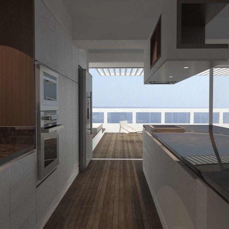 Cocina con isla en remodelación de apartamento de playa en Catia la ...