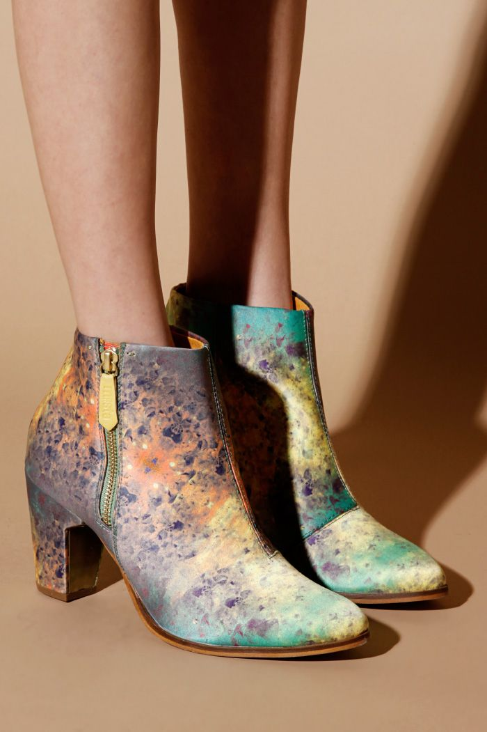 oh god, obsessed. perfect for my latest craze with astronomy and stars. Miista Shoes | Val Tex Galaxy Boots in Neptune | Thrifted & Modern
