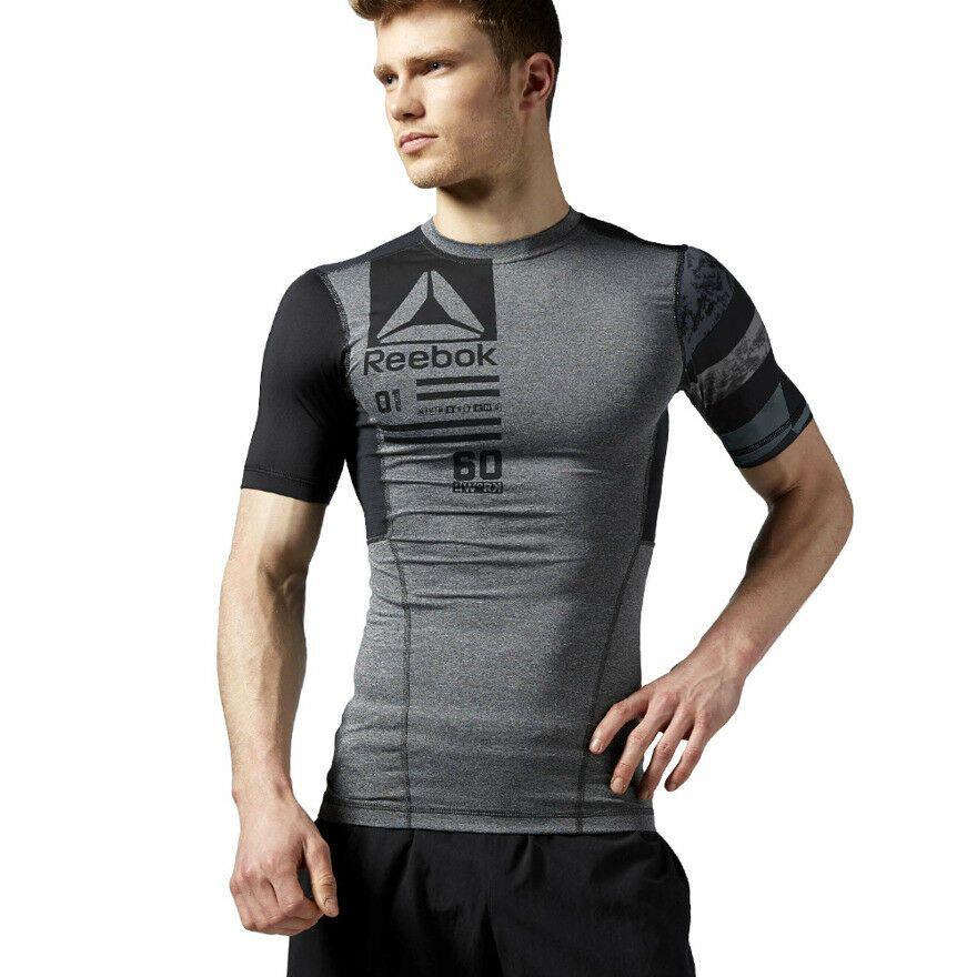 Reebok Men/'s CrossFit V-Neck Side Logo Ash T-Shirt