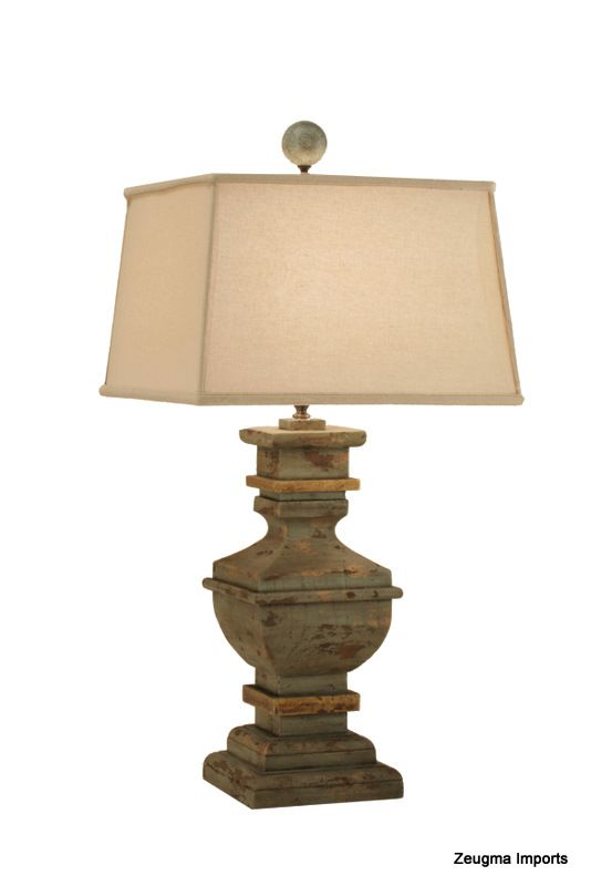 Attractive Chunky Lamp With Rectangular Shade Farmhouse Table