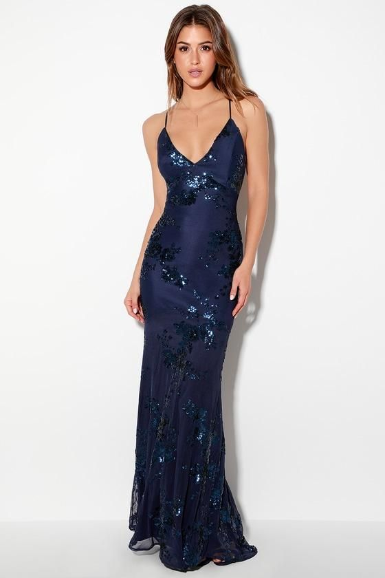 a52a9565546  fashion  trends  styles  AdoreWe  Lulus -  Lulus Valhalla Navy Blue Sequin  Lace-Up Maxi Dress - Lulus - AdoreWe.com