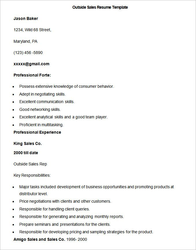 Sample Outside Sales Resume Template , Write Your Resume Much - resume for sales representative