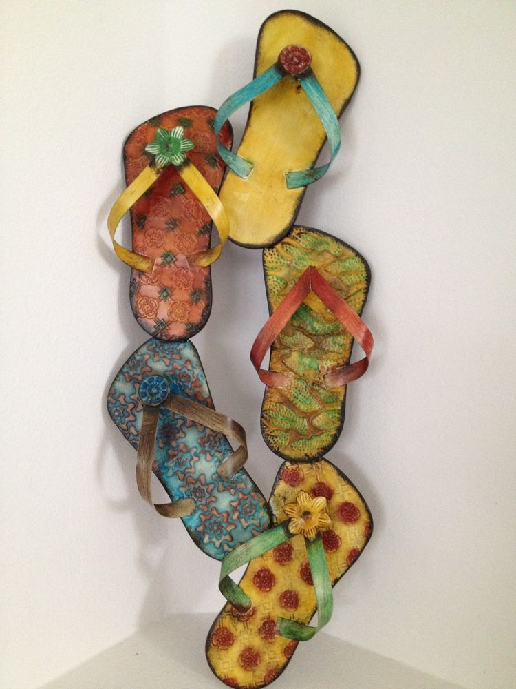 d8071da19ad9fb New Flip Flop Sandals Metal Wall Art Beach Decor Cottage 3D EXCELLENT   ThreeHandsCorp  CottageBeach