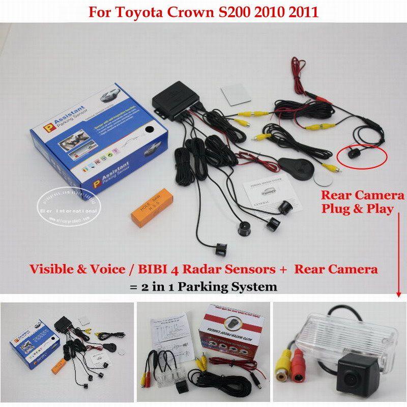 Car Parking Sensors Rear View Back Up Camera 2 In 1 Visual Bibi Alarm Parking System For Toyo Car Electronics Volkswagen Touran Toyota Land Cruiser Prado