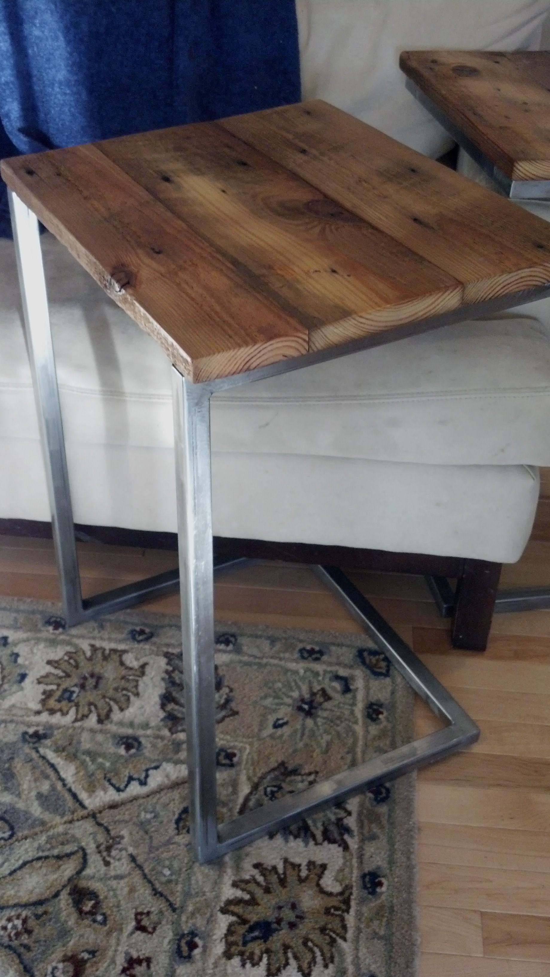 Little Lap Top Table With Steel Frame Topped With Reclaimed