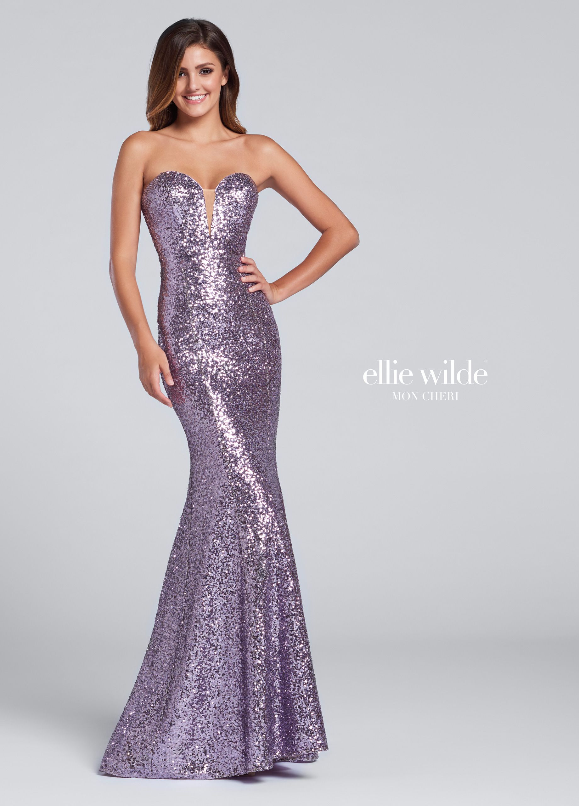 Ellie Wilde EW117033 - Strapless sequin fit and flare gown, deep plunging sweetheart neckline with illusion modesty panel, slight train. Removable straps included.  NEW Colors: Iris, Mint, Rose Gold, Wine