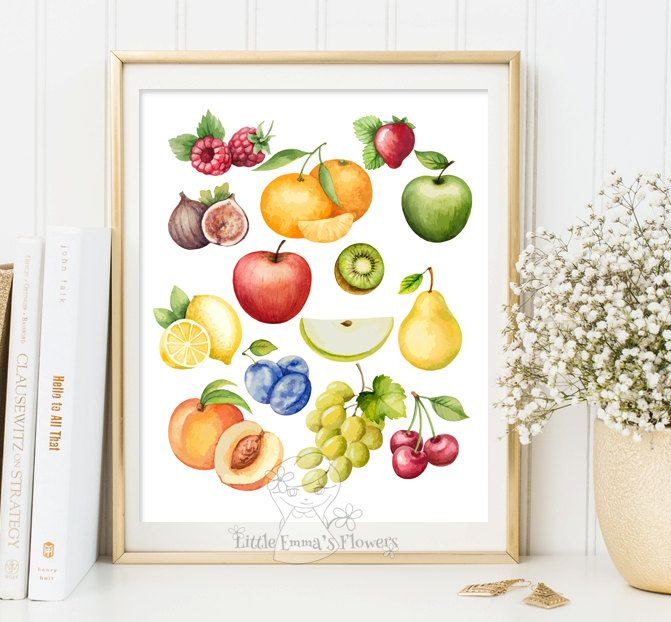 Culinary print art Fruits print kitchen wall art decor poster ...
