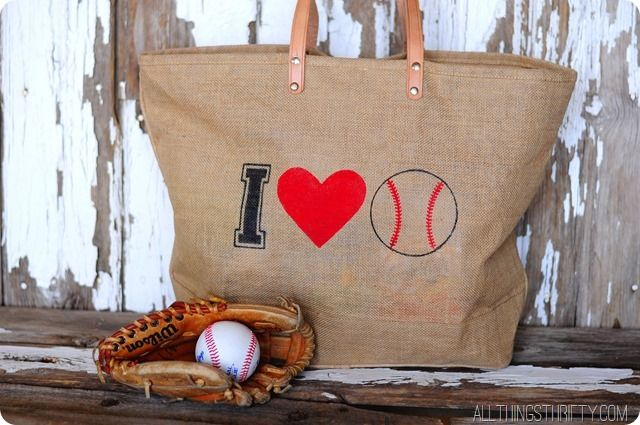 Photo of Stenciled Baseball Bag from All Things Thrifty {Spring Fever Series}