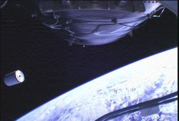 The Cygnus mass simulator separates from the Antares rocket on its inaugural flight on April 21, 2013. Image was taken by a camera onboard the rocket. Credit: Orbital Sciences Corporation.