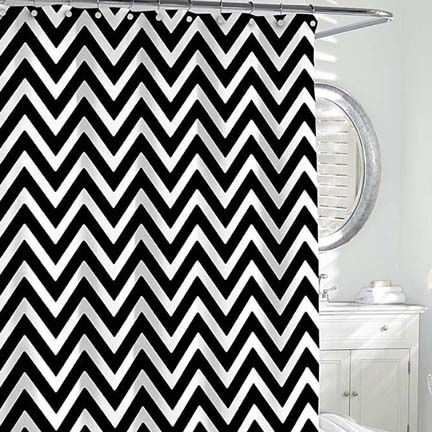 Chevron Shower Curtain Gracious Style For The Blue Bathroom Color Scheme With Images Black Shower Curtains Chevron Shower Curtain Striped Shower Curtains